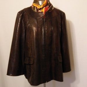 BROWN FAUX LEATHER CROC PATTERN JACKET